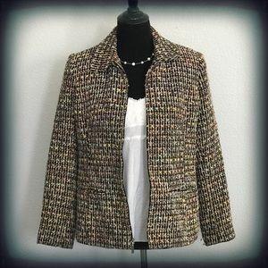 Sag Harbor Tweed Multi Color ZipUp Blazer 10